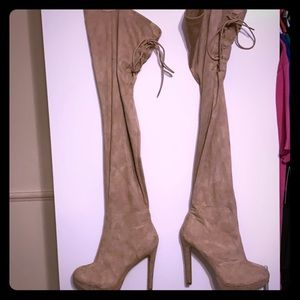 Tan Suede Thigh/Overknee Boots -Size 10-worn twice